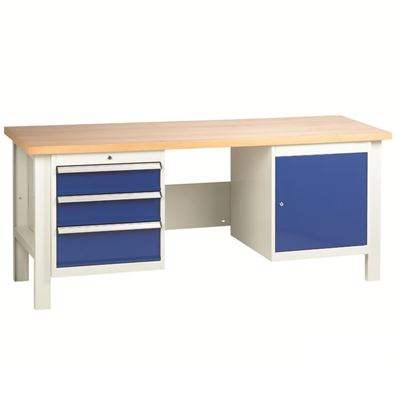 Workbenches with 1 x 3 Drawer Set and Cupboard
