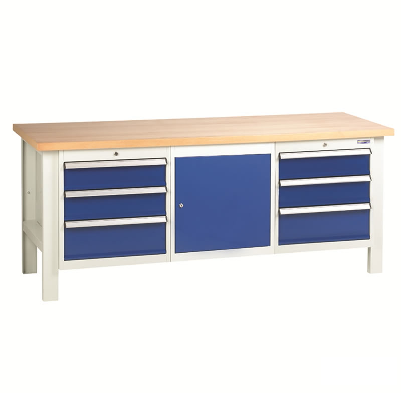 Workbench with 2 x 3 Drawer Sets and Cupboard
