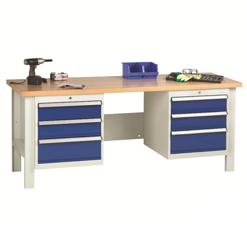 Workbenches with 2 x 3 Drawer Sets