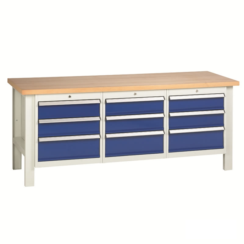 Workbench with 3 x 3 Drawer Sets