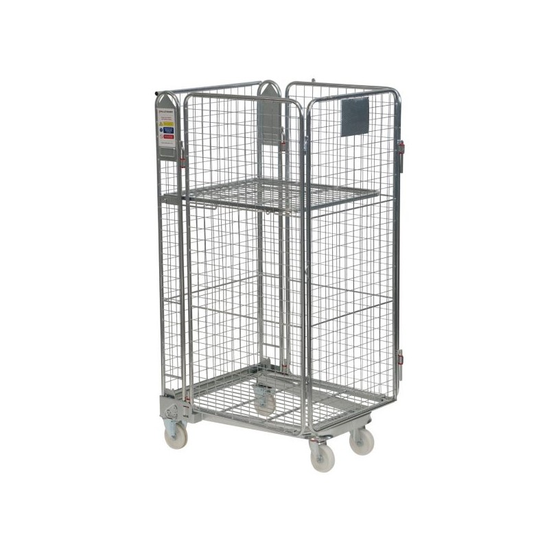 Budget Roll Container - 4 Sided - Hinged Gate & Shelf