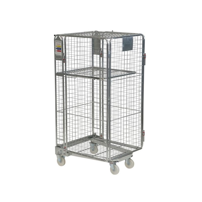 Budget Full Security Roll Container - Hinged Gate, Lid & Shelf