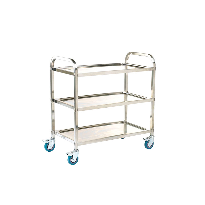 Stainless Steel Trolley - 3 Shelf with rod surround