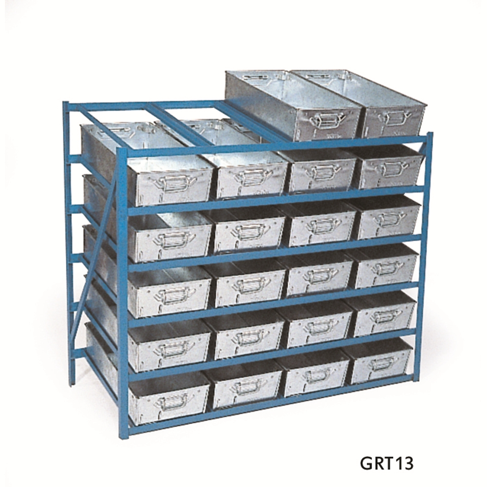 High Tilted Racks - hold 24 x Galvanised Tote Pans