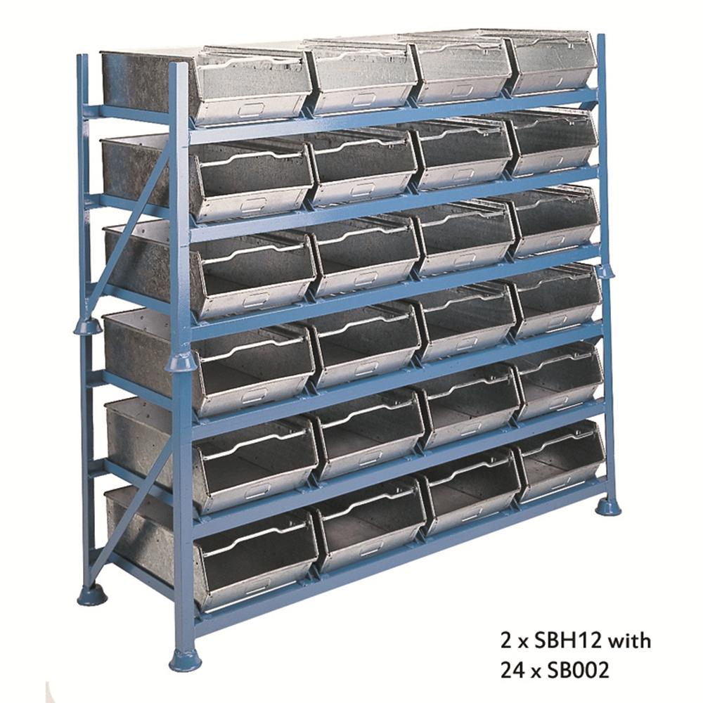 Horizontal Stackable Steel Bin Racks - hold 12 x Stackable Steel