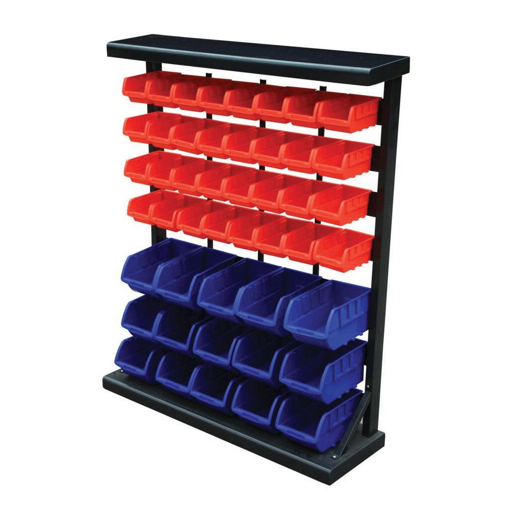 Standing Bin Rack - Complete with 47 Bins