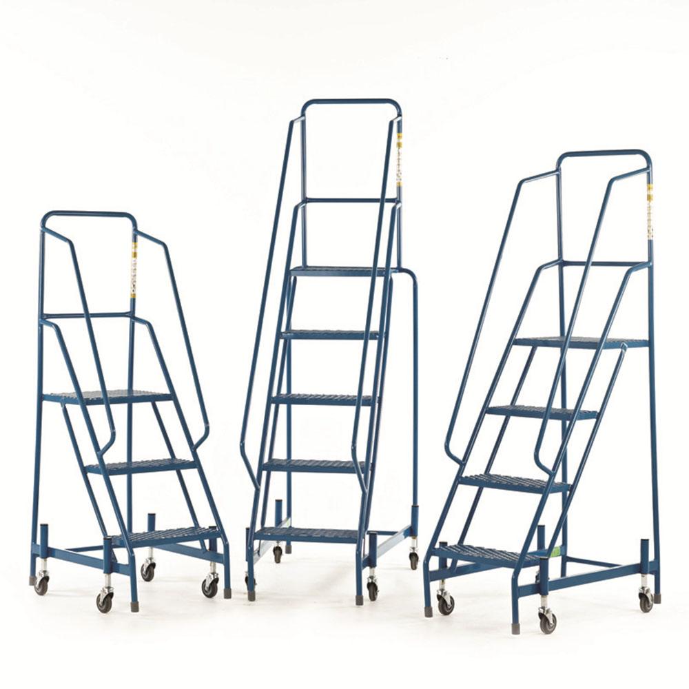 Mobile Steps - Mesh Treads - with full handrail