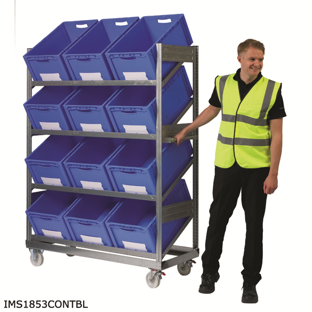 Inclined Mobile Shelving with Containers