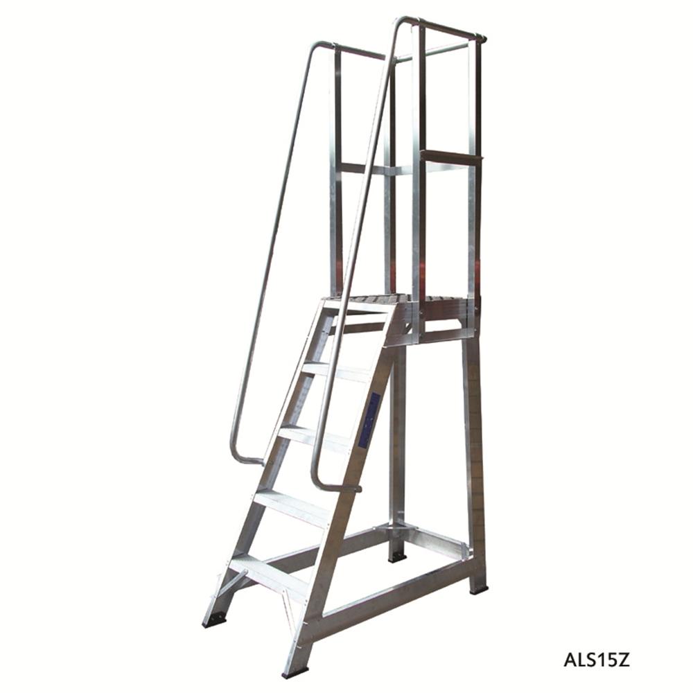 Aluminium Trade Stepladder with Handrails - Straight Back