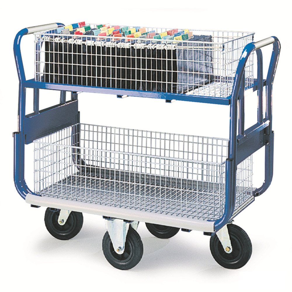 Mail Platform Trolley - with Large Baskets