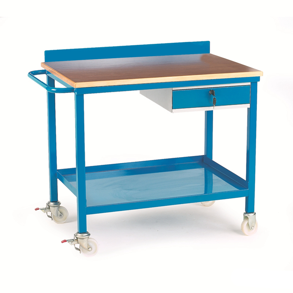 Mobile Workbench with Single Drawer - Plywood Top