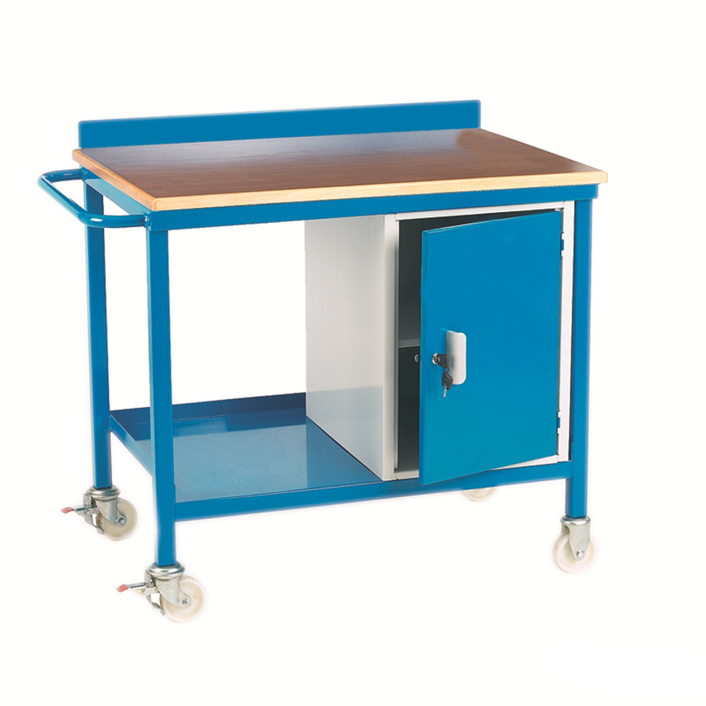 Mobile Workbench with Cupboard - Plywood Top