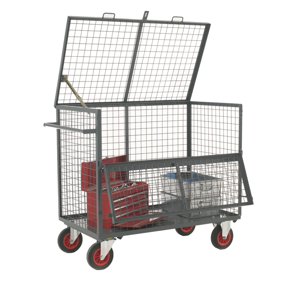 Security Box Trolley - Mesh Sides and Deck