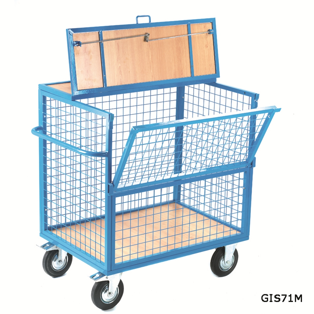 Security Box Trolley - Mesh Sides with Timber Deck