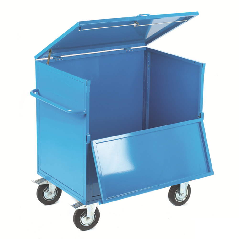Security Box Trolley - Solid Sides with Timber Deck