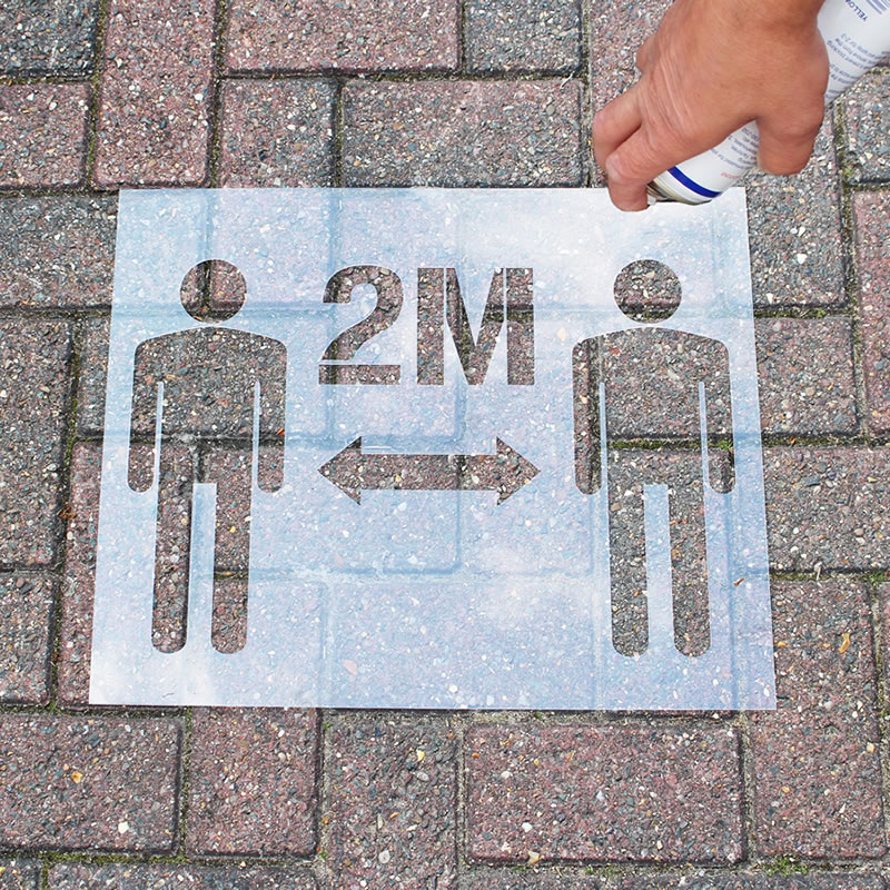Stencil Kit - Please Keep 2 Metre Distance , graphic