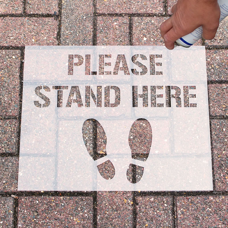 Stencil Kit - Please Stand Here, text
