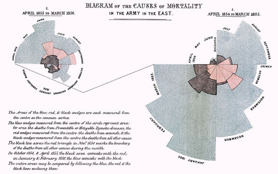 Figure 12. Mortality of the British Army by Florence Nightingale (Image from Wikipedia)