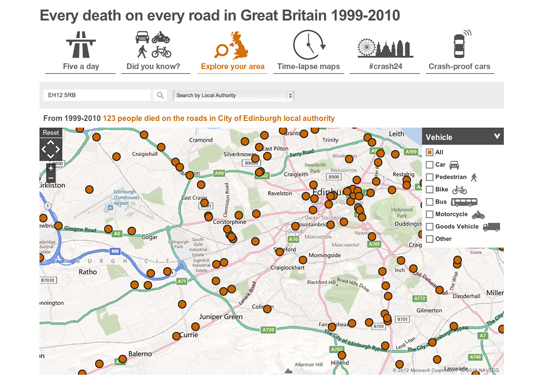 Figure 93. <em>Every death on the road in Great Britain 1999-2000</em> (BBC)