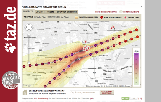 Figure 25. <em>Airport noise map</em> (Taz.de)