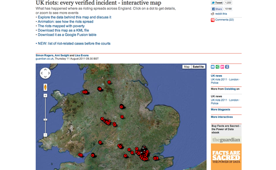 Figure 42. <em>The UK Riots: every verified incident</em> (The Guardian)