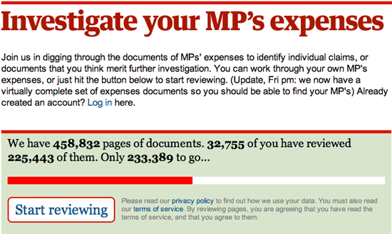 Figure 3. <em>Investigate your MP's Expenses</em> (The Guardian)