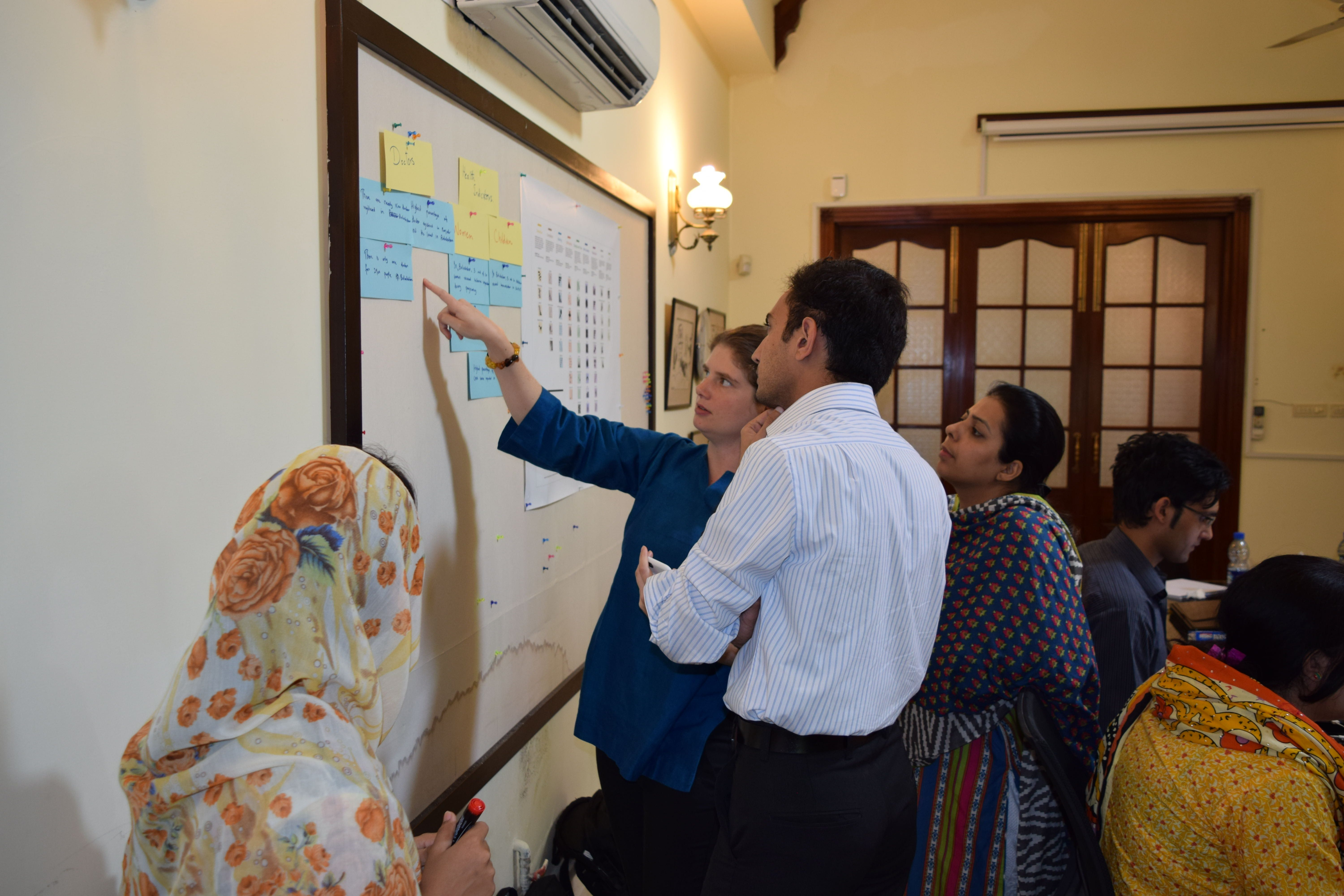 Figure 45.1. Data journalists in pakistan develop initial wireframes with their data findings. Source: Internews.