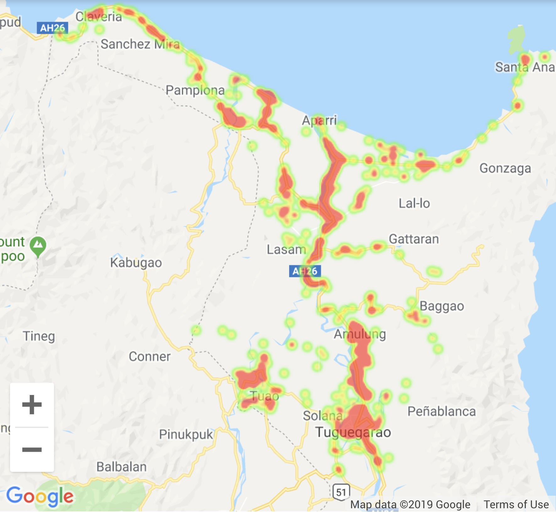 Figure 5.1. Areas in the Cagayan province marked in dark-grey have more occurrences of road crash incidents. Source: Rappler.