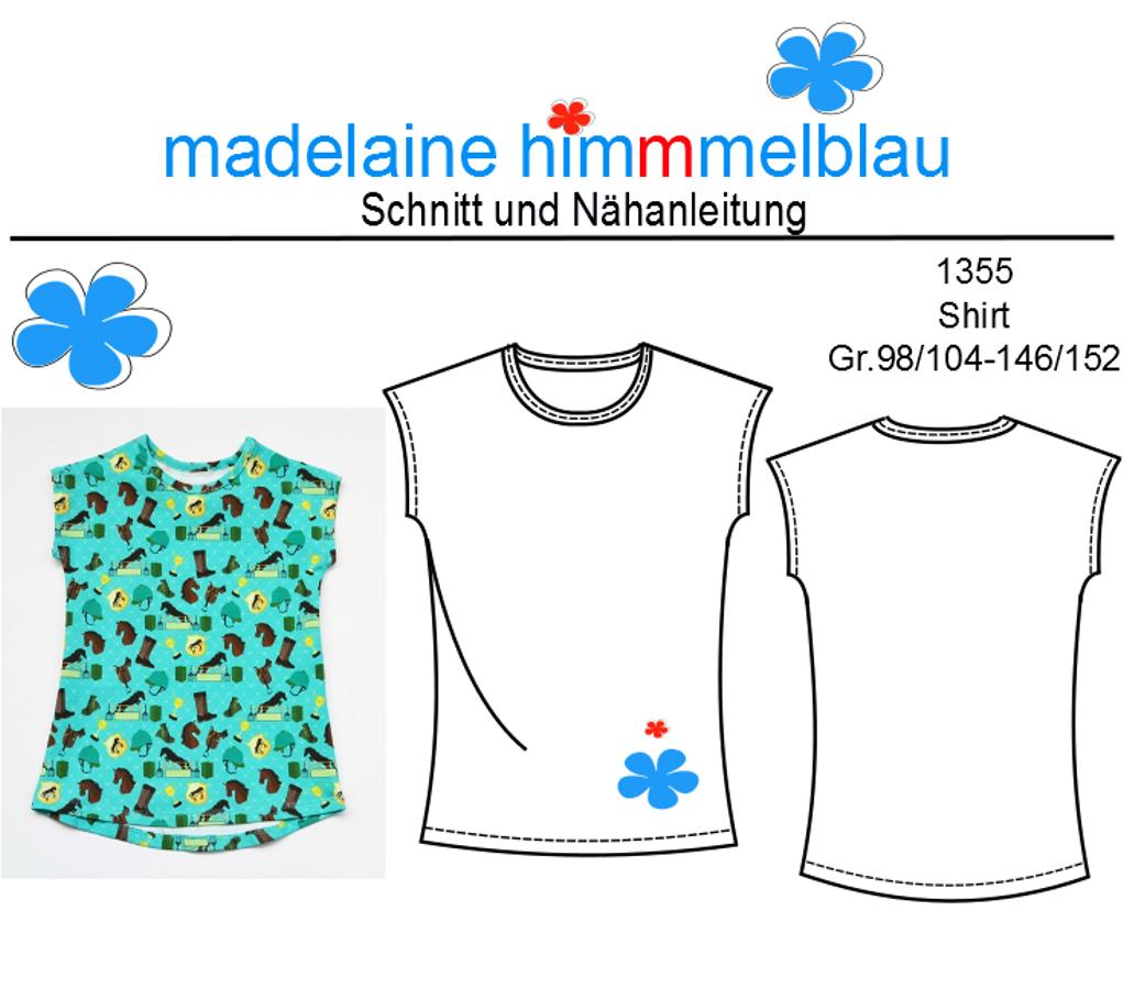 Produktfoto von madelaine himmmelblau für Schnittmuster 1355 Shirt