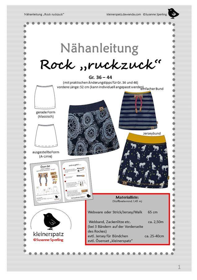 Produktfoto von kleinerspatz für Schnittmuster Rock Ruckzuck