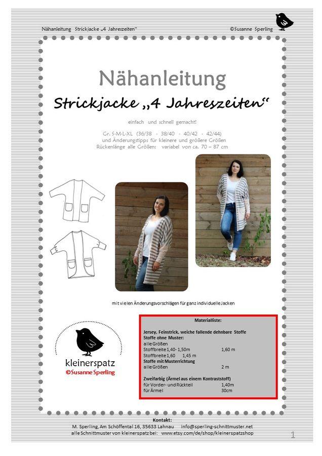Produktfoto von kleinerspatz für Schnittmuster Strickjacke 4 Jahreszeiten