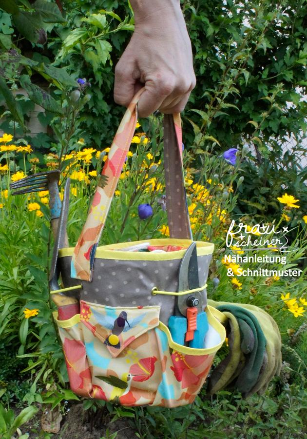 Produktfoto von Frau Scheiner für Schnittmuster Gartenarbeit Tasche