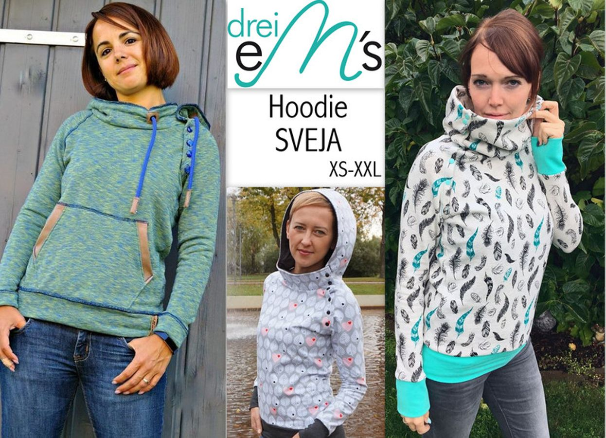 Produktfoto von drei eMs für Schnittmuster Hoodie Sveja