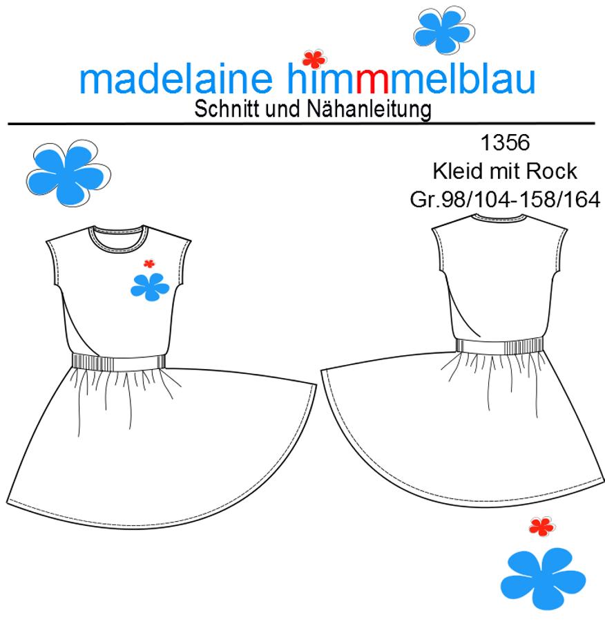 Produktfoto von madelaine himmmelblau für Schnittmuster 1356 Tellerrock-Kleid