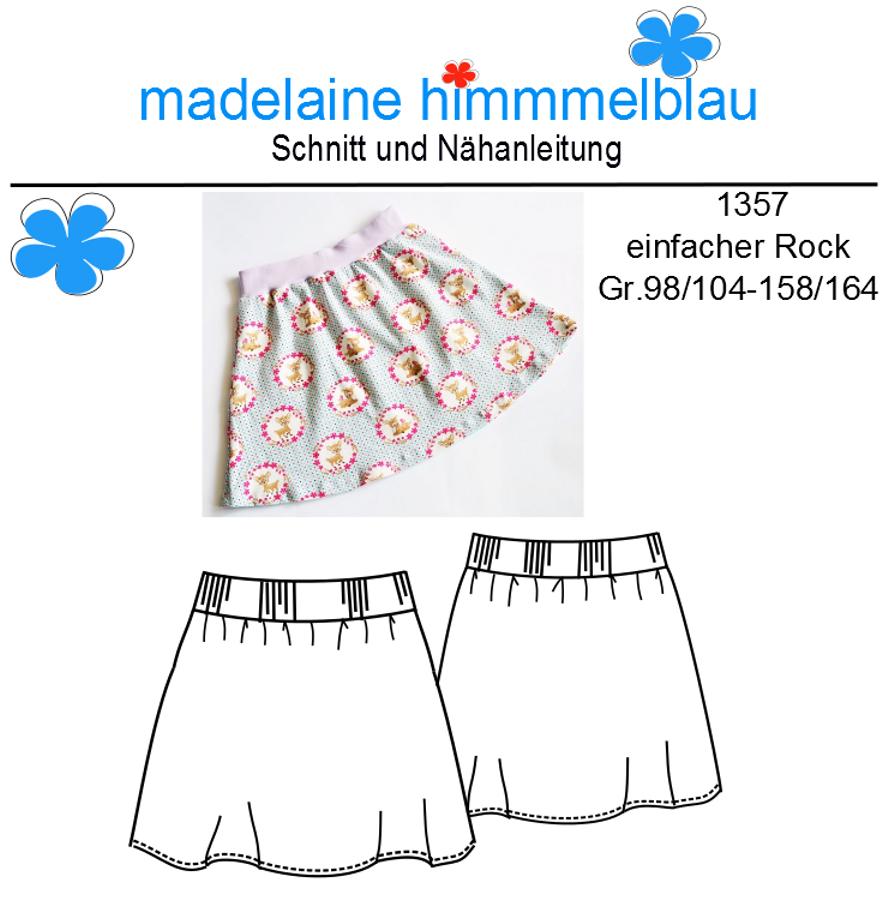Produktfoto von madelaine himmmelblau für Schnittmuster 1357 einfacher Mädchen-Rock
