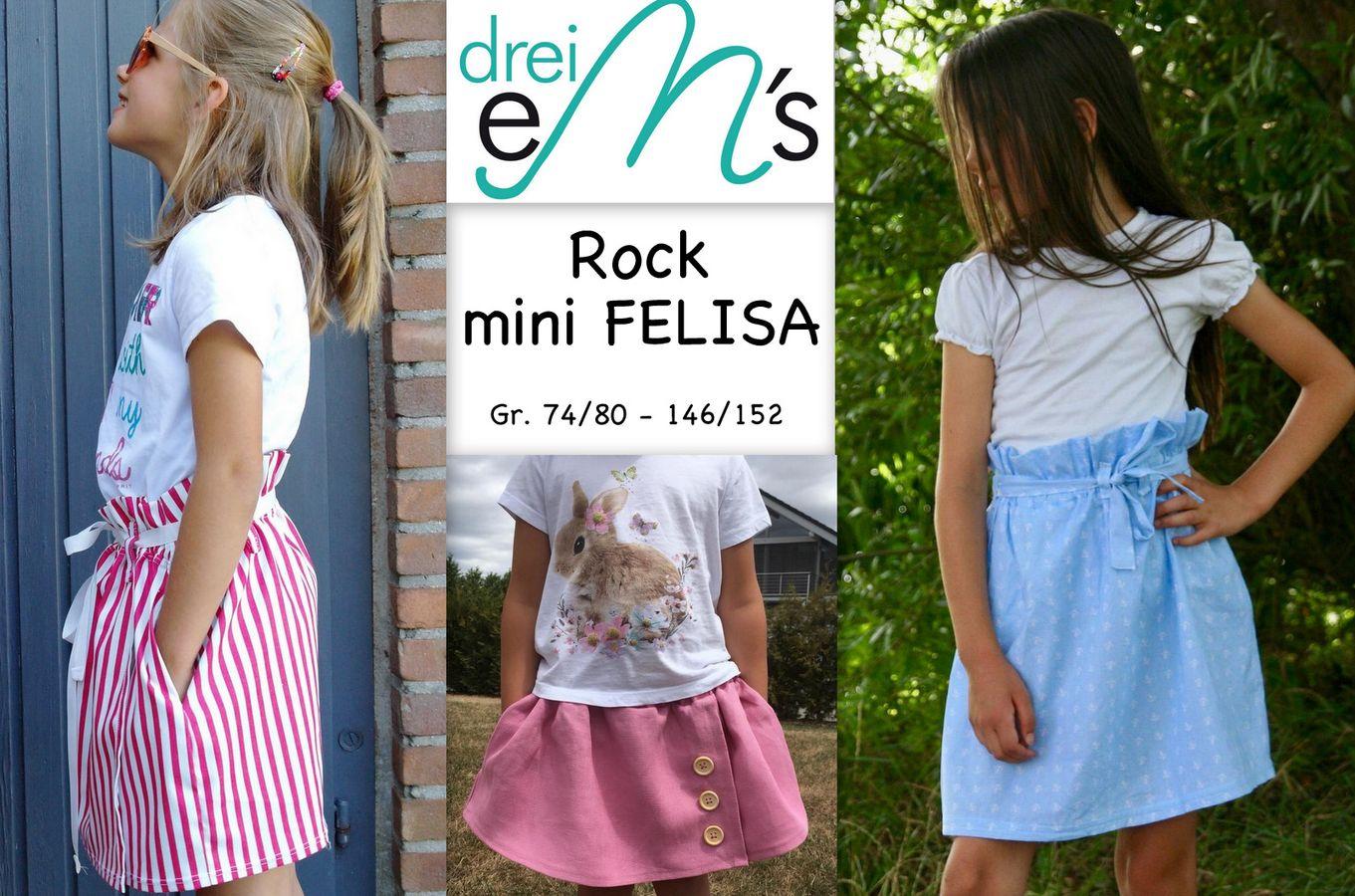 Produktfoto von drei eMs für Schnittmuster Rock mini Felisa
