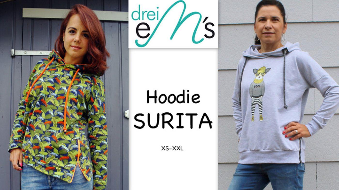 Produktfoto von drei eMs für Schnittmuster Hoodie Surita