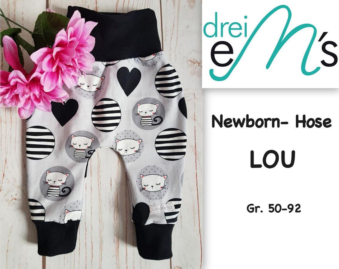 Produktfoto von drei eMs für Schnittmuster Newborn-Hose Lou