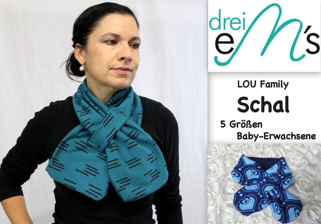Produktfoto von drei eMs für Schnittmuster Family-Schal Lou