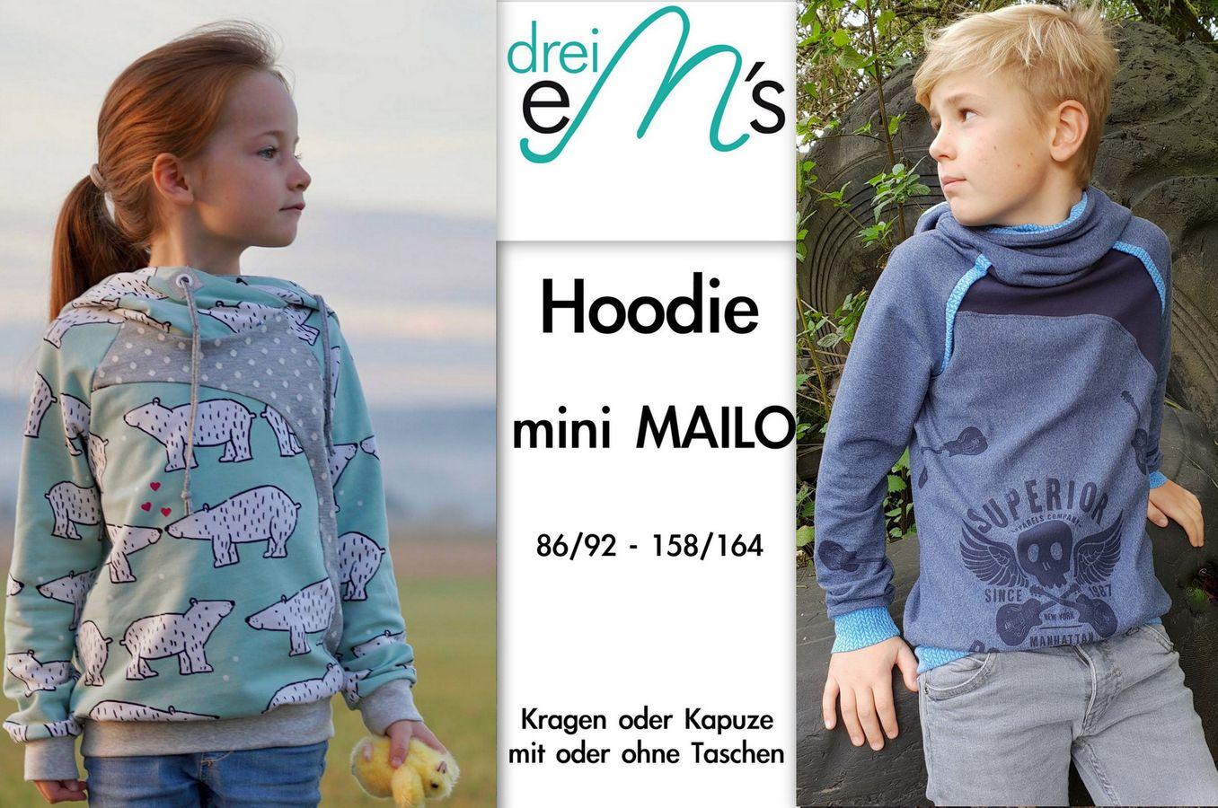Produktfoto von drei eMs für Schnittmuster Hoodie mini Mailo