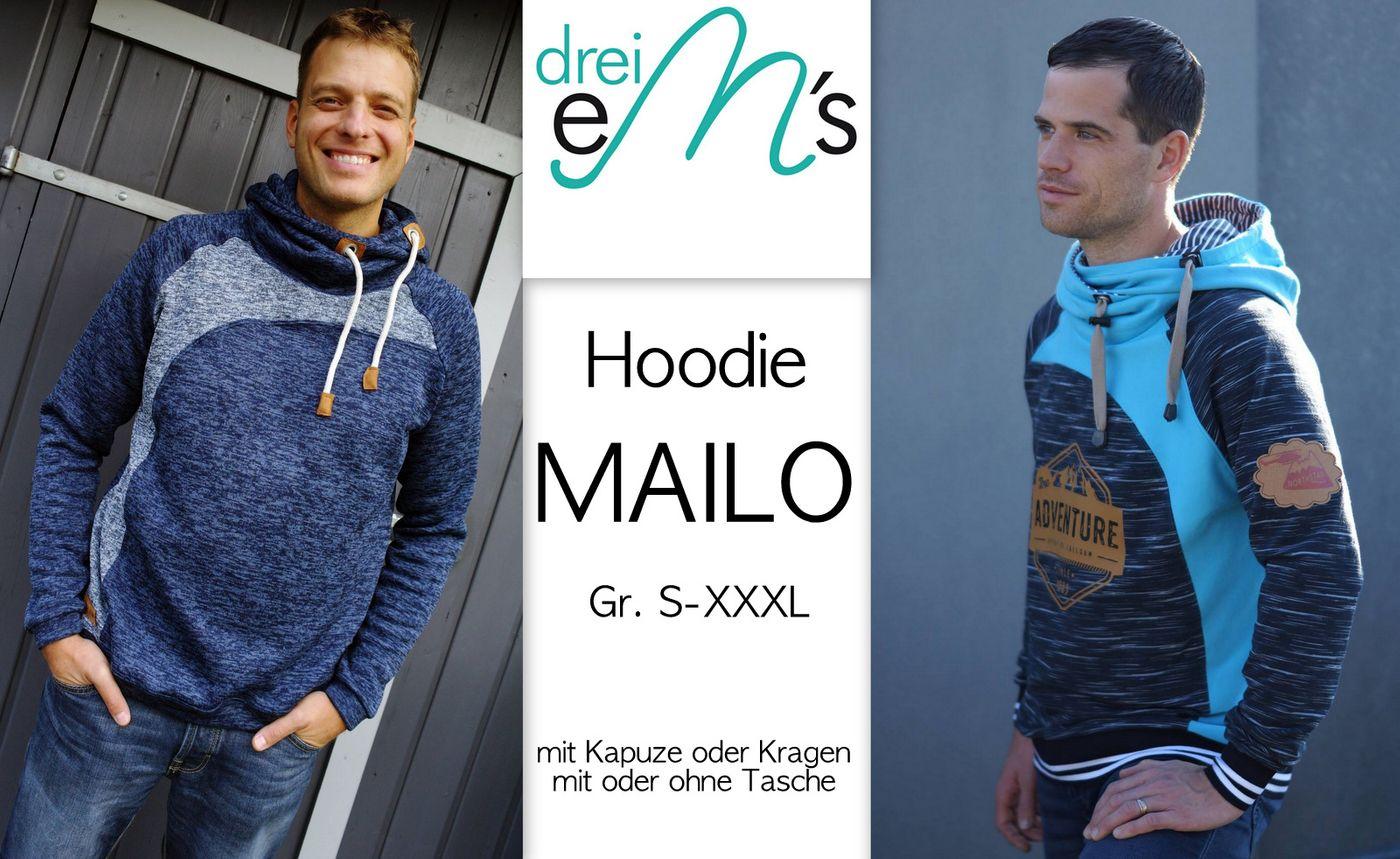Produktfoto von drei eMs für Schnittmuster Hoodie Mailo