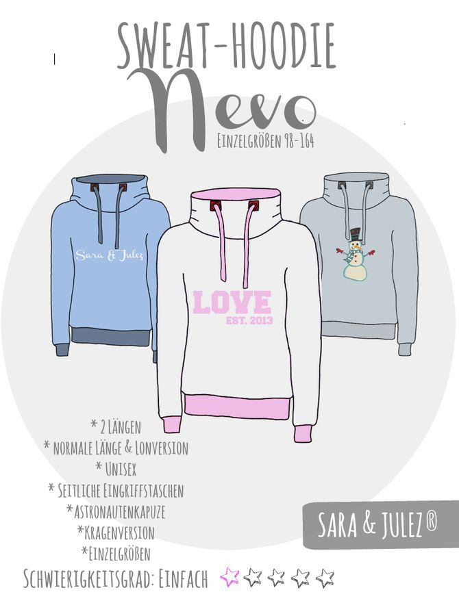 Produktfoto von Sara & Julez für Schnittmuster Sweat-Hoodie Nevo