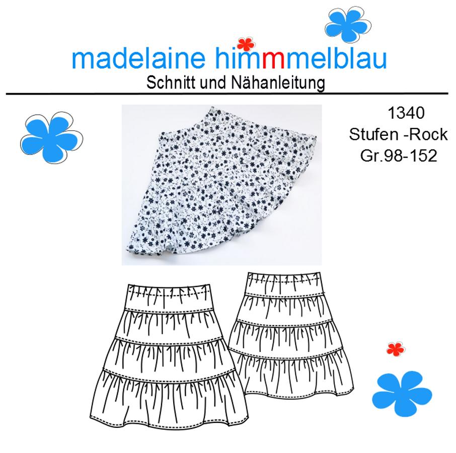 Produktfoto von madelaine himmmelblau für Schnittmuster 1340 Stufen-Rock