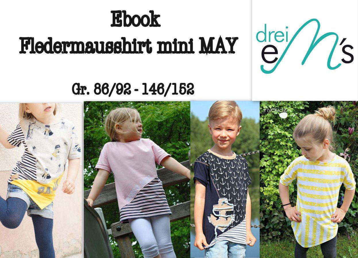 Produktfoto von drei eMs für Schnittmuster Fledermausshirt mini May