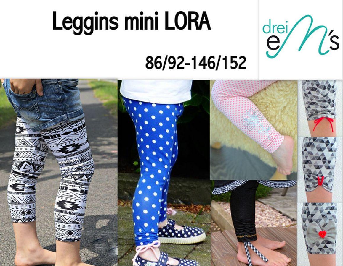 Produktfoto von drei eMs für Schnittmuster Leggins Mini Lora