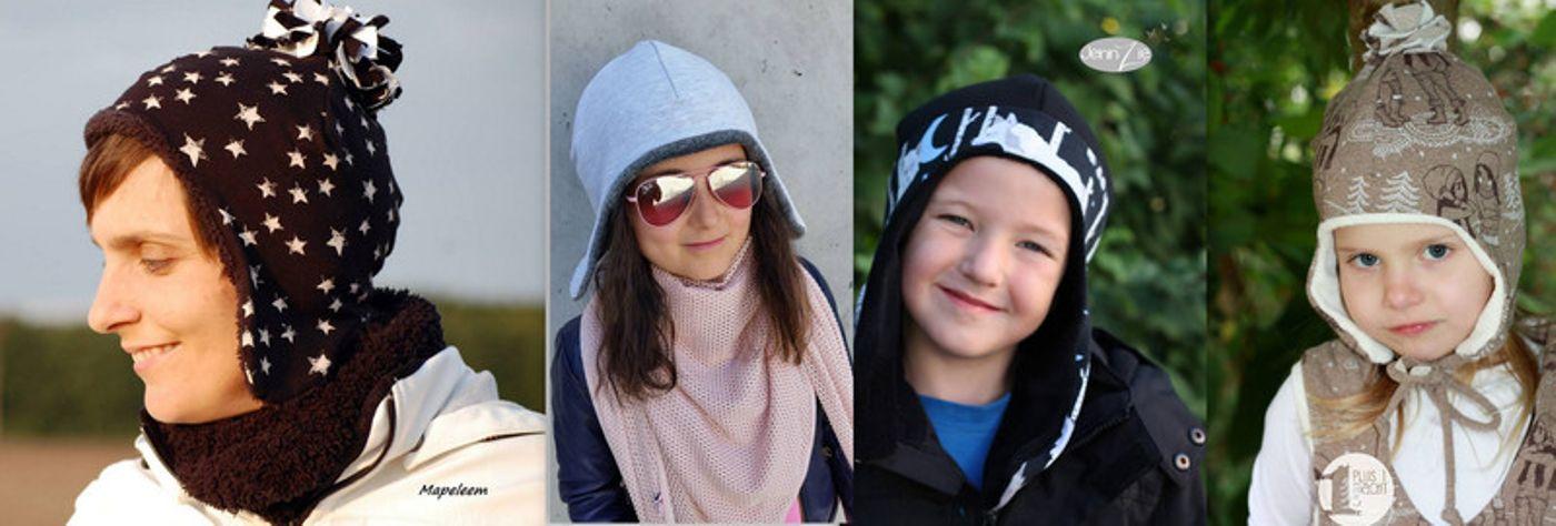 Produktfoto von drei eMs für Schnittmuster Wendemütze Michele