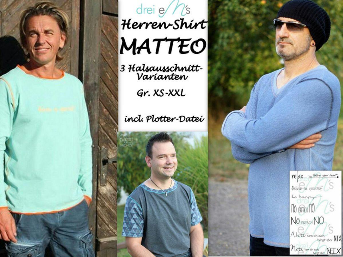 Produktfoto von drei eMs für Schnittmuster Herren-Shirt Matteo