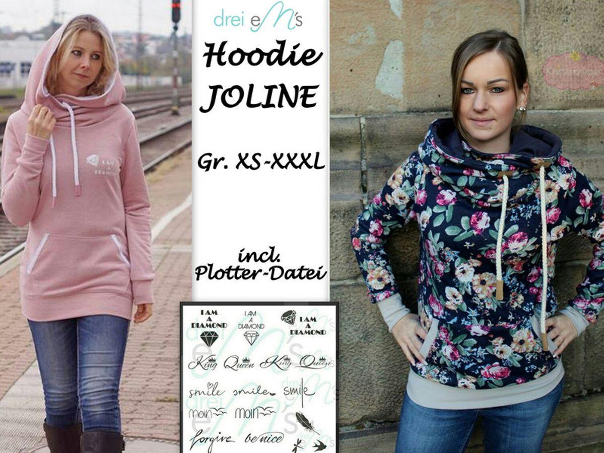 Produktfoto von drei eMs für Schnittmuster Hoodie Joline