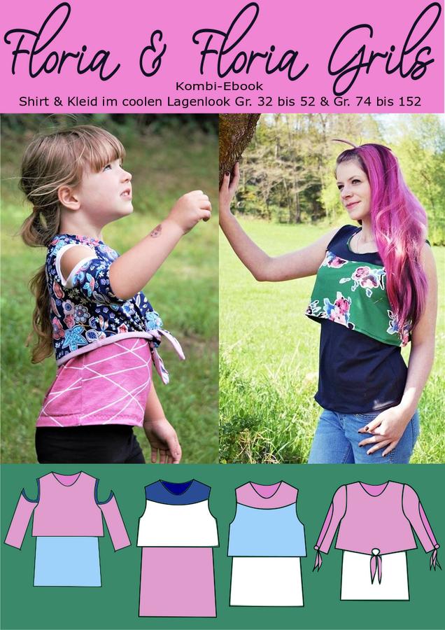 Produktfoto 1 von Rosalieb & Wildblau für Schnittmuster Kombi-Ebook Floria Girls + Floria Damen