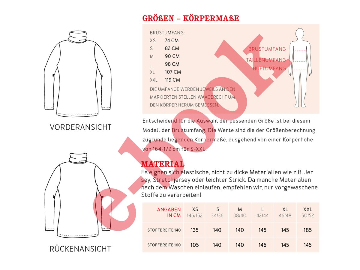 Produktfoto 3 von STUDIO SCHNITTREIF für Schnittmuster FRAU ROMY & ROMY Rollkragenshirts im Partnerlook